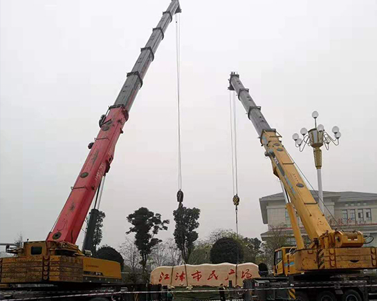 上海广场精神堡垒履带吊安装